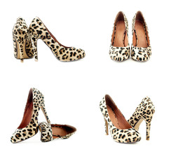 A collage of leopard print shoes with high heels