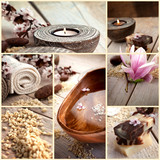 Fototapety Spa collage with magnolia flower