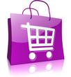 Einkaufstasche mit Einkaufswagen, violett