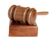 Judge wooden gavel isolated on white background