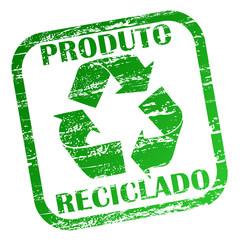 Carimbo - produto reciclado com palavras e símbolo