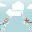 Birds with speech bubbles