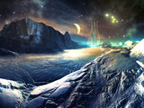 Fototapety Distant View of Futuristic Aiien City on Winter World