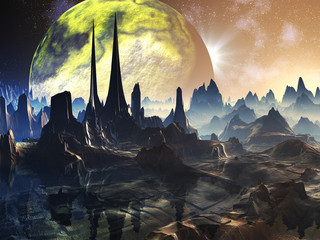 Alien City Ruins on Faraway Planet