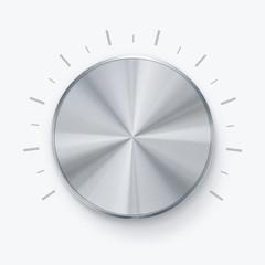 Round shiny volume knob over white background
