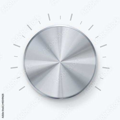 Round shiny volume knob over white background