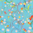 Seamless pattern with circles, butterflies, flowers