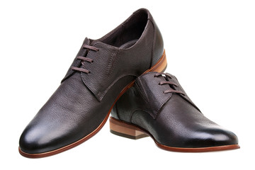 Pair of brown male classic shoes over white
