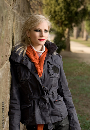 Fashionable young blond outdoors.