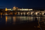 Prague Castle and Charles Bridge over Vltava river
