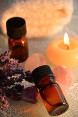 essential oil with aroma candle