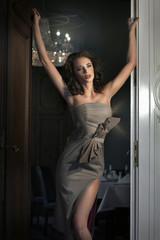Sexy woman in stylish interior