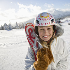 Young woman with ski, portrait