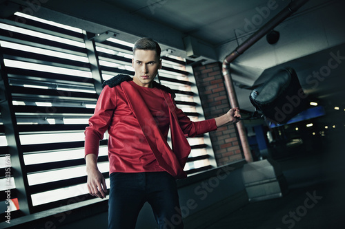 Dynamic photo of handsome guy posing