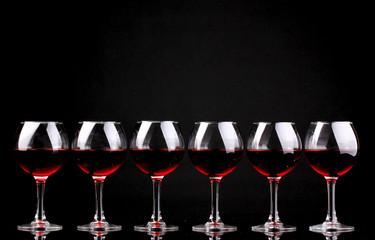 Wineglasses isolated on black