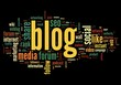 Blog concept in word tag cloud on black