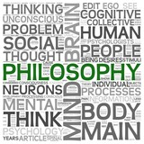 Philosophy concept in word tag cloud poster