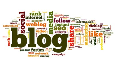 Blog concept in word tag cloud on white