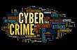 Cyber crime in word tag cloud on black