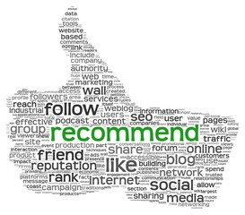 Recommend symbol in tag cloud on white