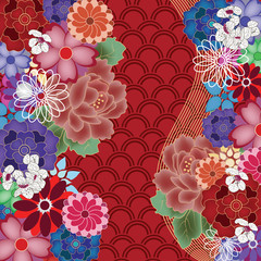 colorful oriental background with big peony flowers