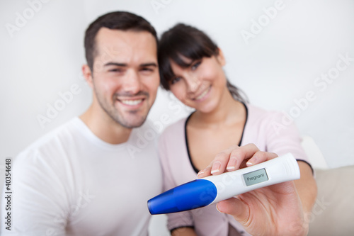 Couple finding out results of pregnancy test