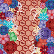 colorful oriental background with stylized fans
