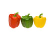 Red, green and yellow pepper on white background, close-up