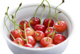 Bowl of cherries, close-up