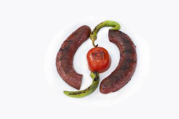 sucuk sausage kebab plate