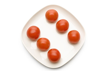 Tomatoes on plate, directly above