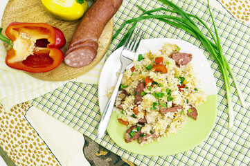 Served with rice and vegetables