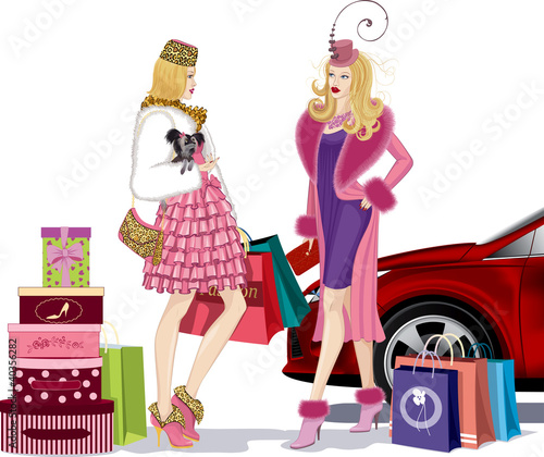 Two nicely dressed girls talking after successful shopping