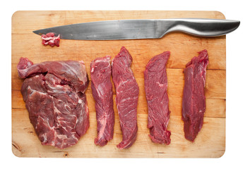 Cutting raw meat slices