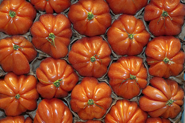 Tomates coeur de boeuf dans une cagette.