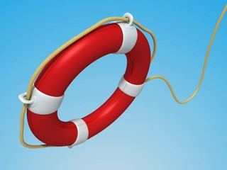 red Lifebuoy flying against the blue sky