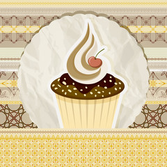 vector vintage pattern with cupcake and retro background
