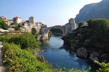 famous bridge in bosnia and herzegovina, europe