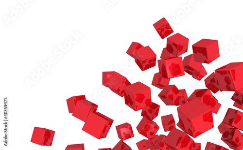 Fliegende Würfel Mischung - Rot isoliert