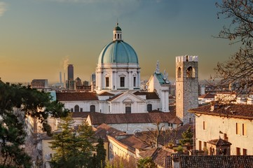 The dome of Duomo Nuovo in Brescia after sunrise