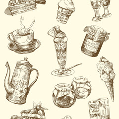 sweets, coffee, ice cream - seamless pattern