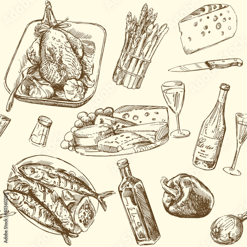 seamless pattern - food