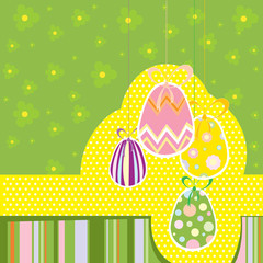 Easter eggs with flower pattern