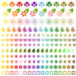 Complete collection of colorful spring flowers