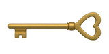 Heart Shaped Golden Skeleton Key