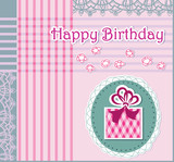 Greeting card with happy birthday. Openwork background. poster