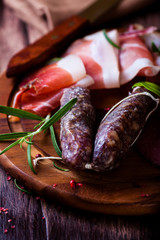 Spicy Italian Sausages and Bacon  with fresh Rosemary