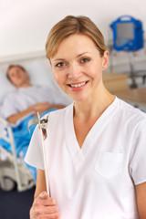 American nurse working on hospital ward