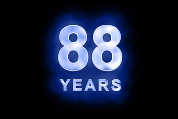 88 years text with blue glow