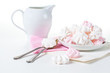white and pink meringues